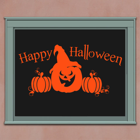 Happy Halloween Pumpkins | Vinyl Window Decal | Vinyl Lettering