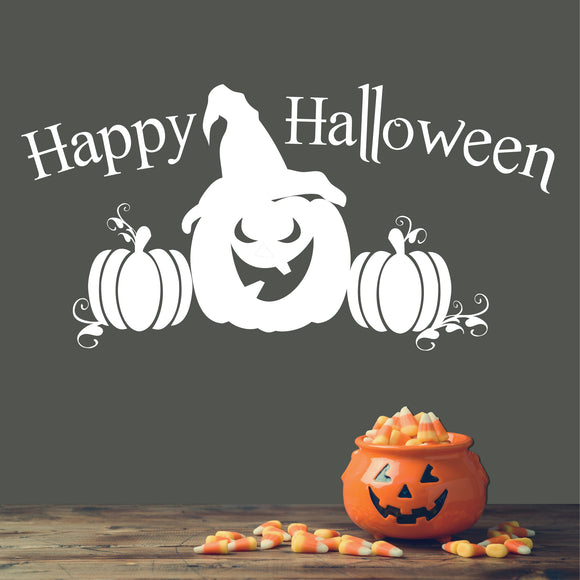 Wall Decal Happy Halloween Witch Jack-O-Lantern