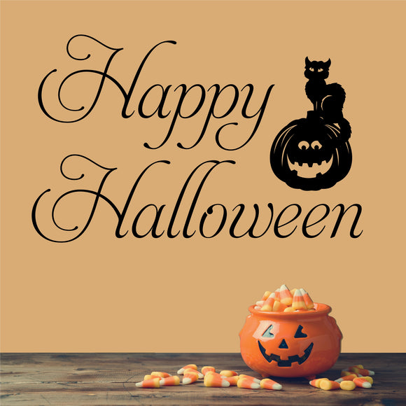 Wall Decal Happy Halloween Cat on Pumpkin