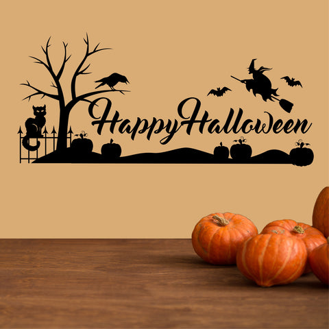 Happy Halloween Tree Raven Decal | Vinyl Wall Lettering | Wall Quotes