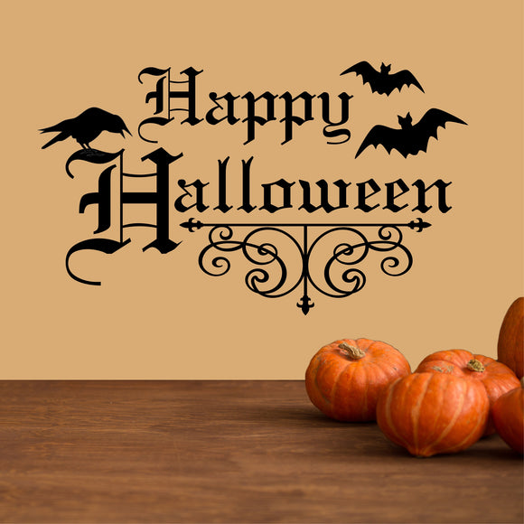 Wall Decal Gothic Scroll Happy Halloween