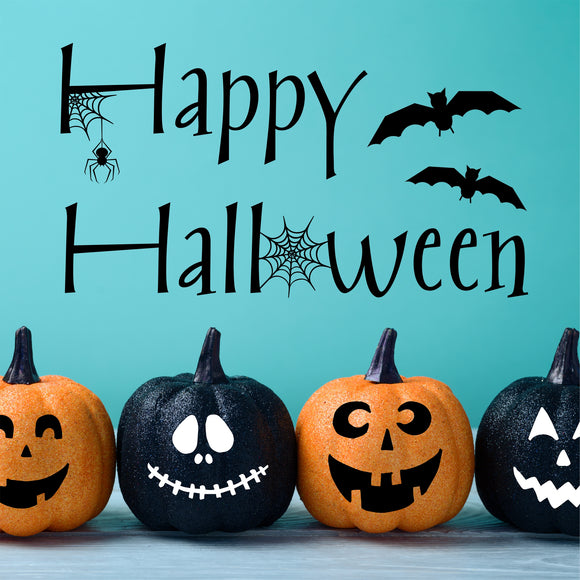 Wall Decal Happy Halloween Bats Spider