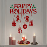 Christmas Wall Decal Happy Holidays Holly Hanging Ornaments