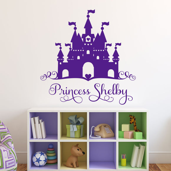 Girl Wall Decal Princess Heart Castle