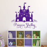 Heart Castle Princess Name Decal | Vinyl Wall Lettering | Wall Quotes