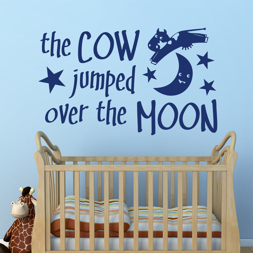 Hey Diddle Nursery Rhyme Decal | Cow Jumped | Vinyl Wall Lettering