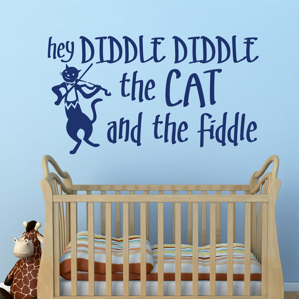 Hey Diddle Nursery Rhyme Decal | Cat and Fiddle | Vinyl Wall Lettering