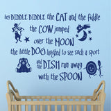 Hey Diddle Diddle Nursery Rhyme Decal | 4 piece Set | Vinyl Lettering