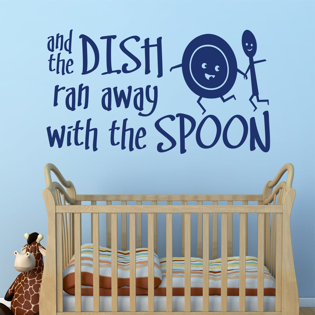 Hey Diddle Nursery Rhyme Decal | Dish Ran Away | Vinyl Wall Lettering