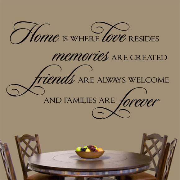 Family Wall Decal Home is Where Love Resides Farmhouse Vinyl Lettering