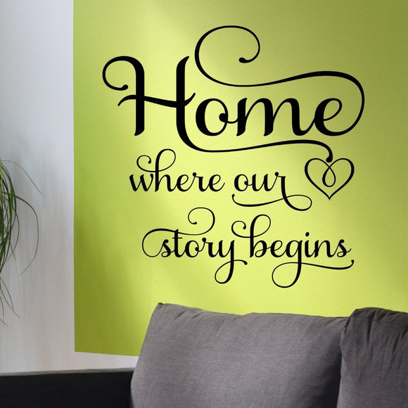 Family Wall Decal Home Where Our Story Begins Farmhouse Vinyl Lettering