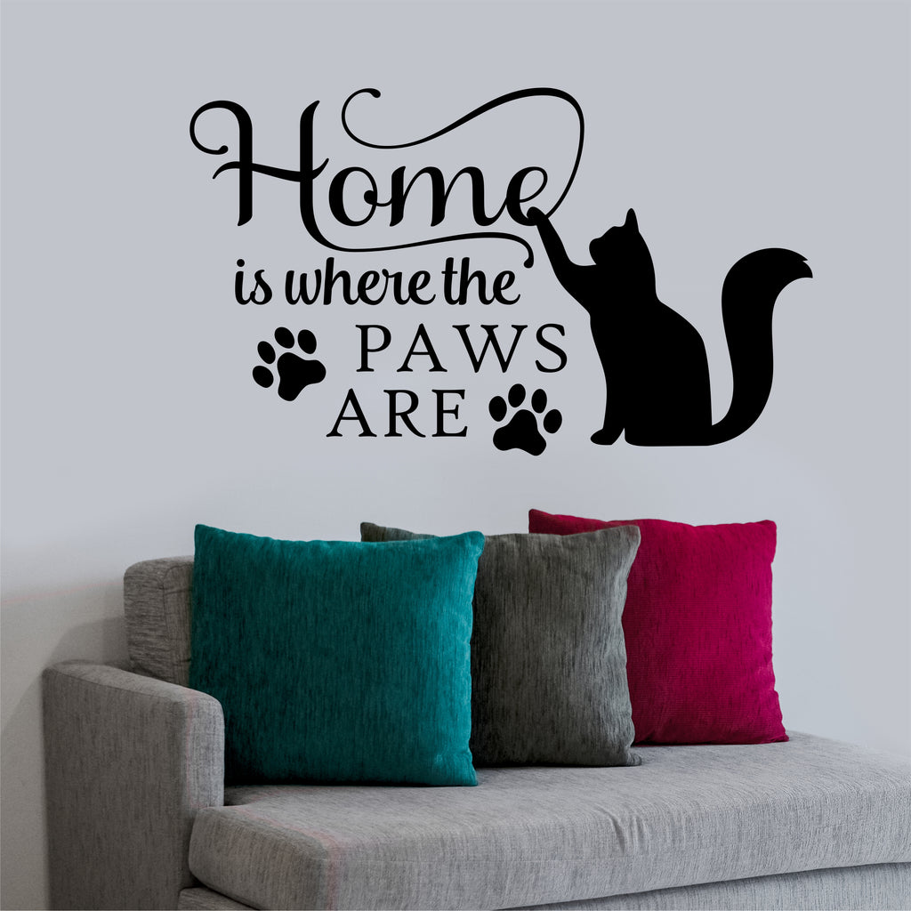 Home Where Paws Are Cat Decal | Pet Wall Quote | Vinyl Lettering