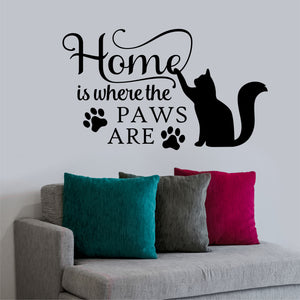 Wall Decal Home is where Paws Are Cat