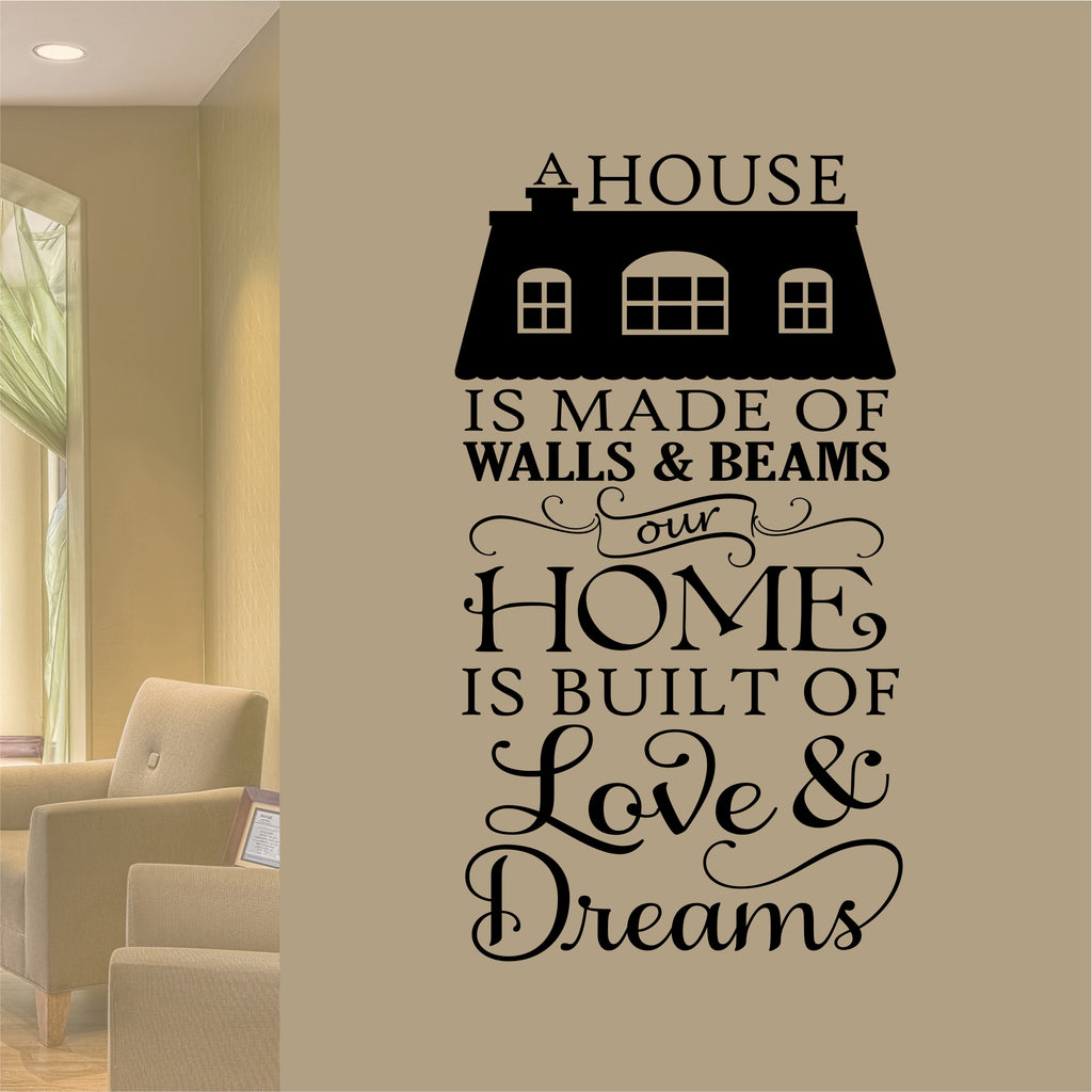 Home Built of Love Decal | Vinyl Wall Lettering | Wall Quotes