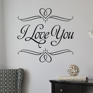 Bedroom Wall Decal I Love You Romantic Farmhouse Vinyl Lettering