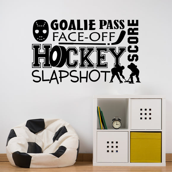 Wall Decal Ice Hockey Word Collage