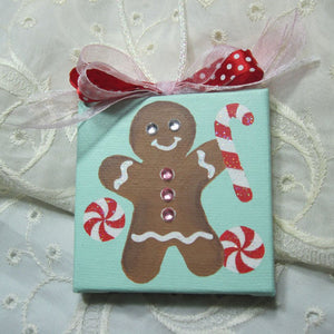 hand painted canvas christmas ornament
