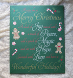 Holiday Hand Painted Canvas Merry Christmas Recipe Wall Art