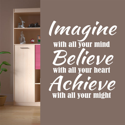 Imagine Believe Achieve Decal | Vinyl Lettering | Wall Quotes