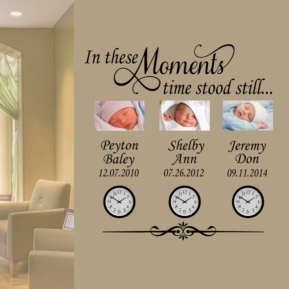 Custom Wall Decal In These Moments Family Names Dates Vinyl Lettering