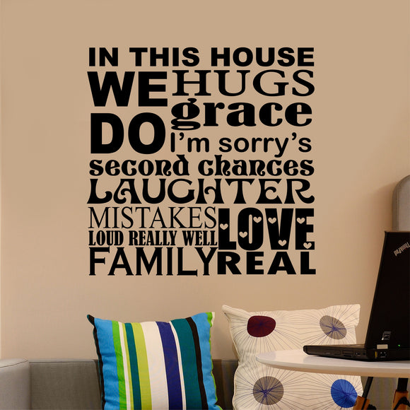 Family Wall Decal In This House We Do Word Collage Vinyl Lettering