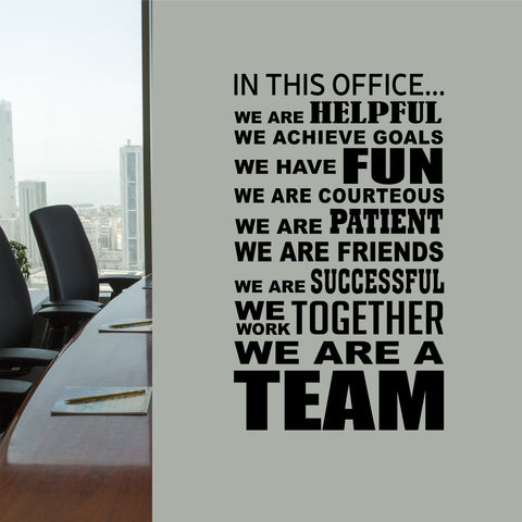 In This Office Team | Motivate Employees | Vinyl Office Decal