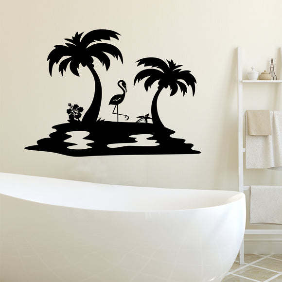 Bathroom Wall Decal Island Flamingo and Palm Trees Beach House Decoration
