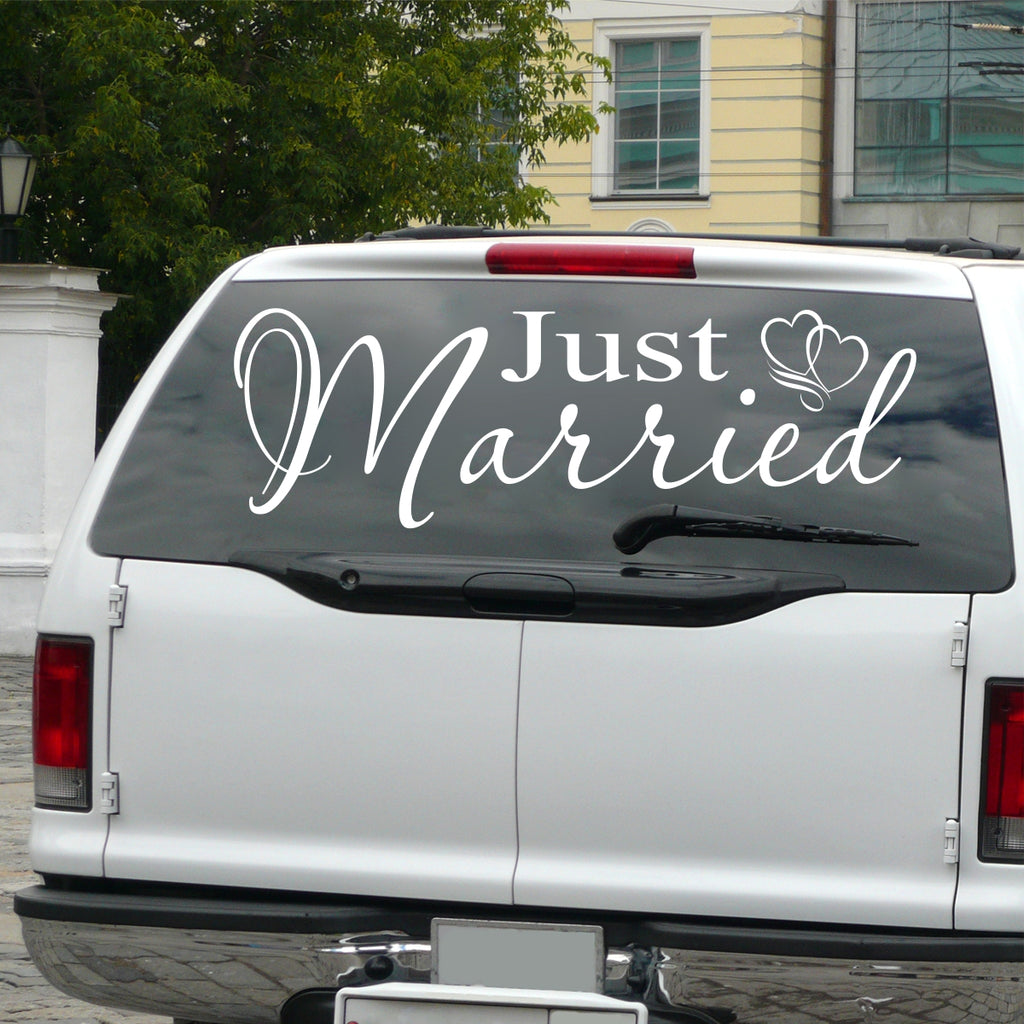 Just Married Sticker | Vinyl Auto Decal |  Wedding Decoration