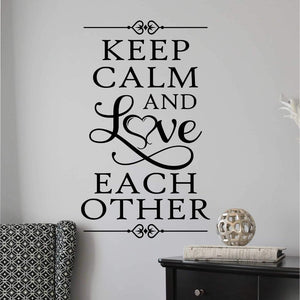 Bedroom Wall Decal Keep Calm And Love Romantic Farmhouse Vinyl Lettering