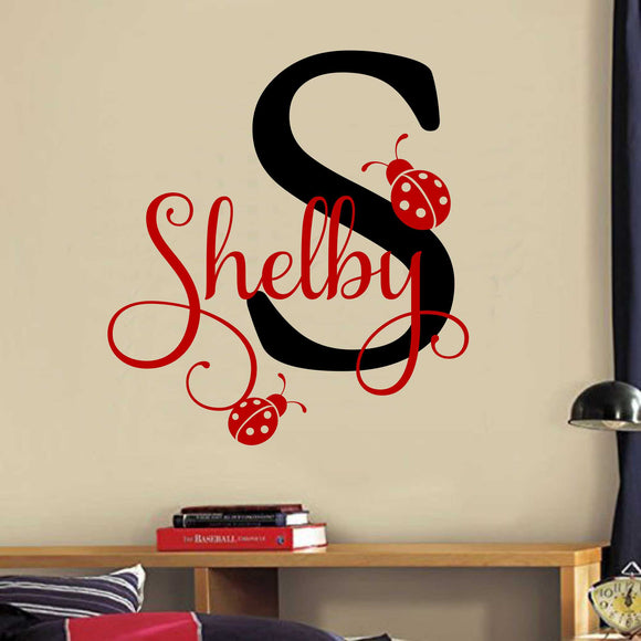 Girl Wall Decal Ladybugs Name and Initial