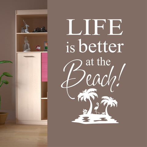 Life is Better at Beach Island Decal | Vinyl Lettering | Wall Quotes