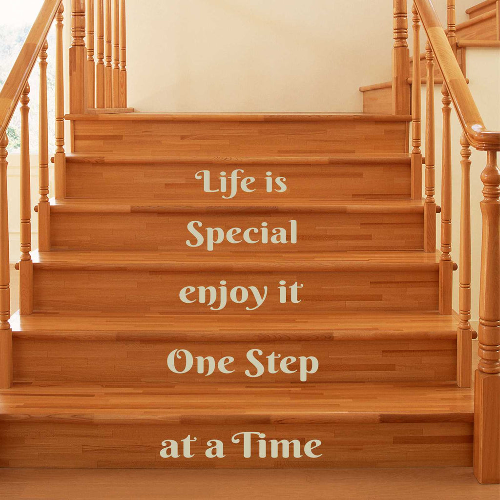 One Step at a Time | Vinyl Stairs Decal | Lettering for Stairs