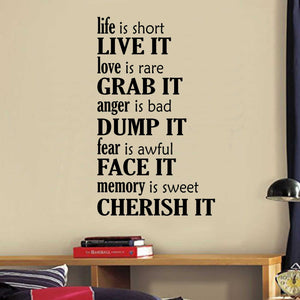 Wall Decal Life is Short Live It Life Rules