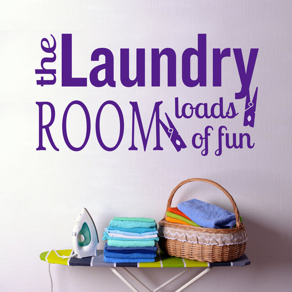 Laundry Room Wall Decal Loads of Fun Whimsical Vinyl Lettering
