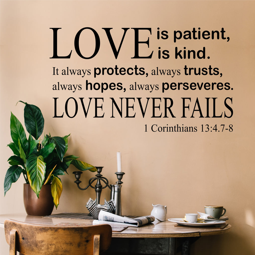 Love Is Patient Decal Vinyl Wall Lettering Religious Quote