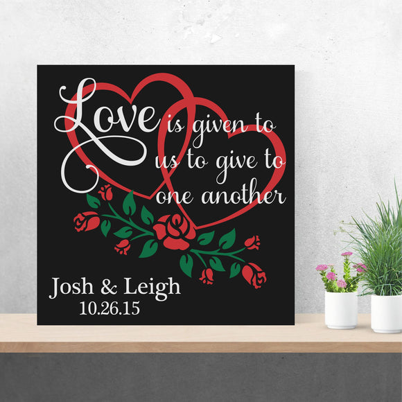 custom hearts and roses wedding canvas