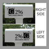 Custom Mail Box Decal Square Monogram Address Lettering
