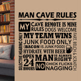 Wall Decal Man Cave Rules