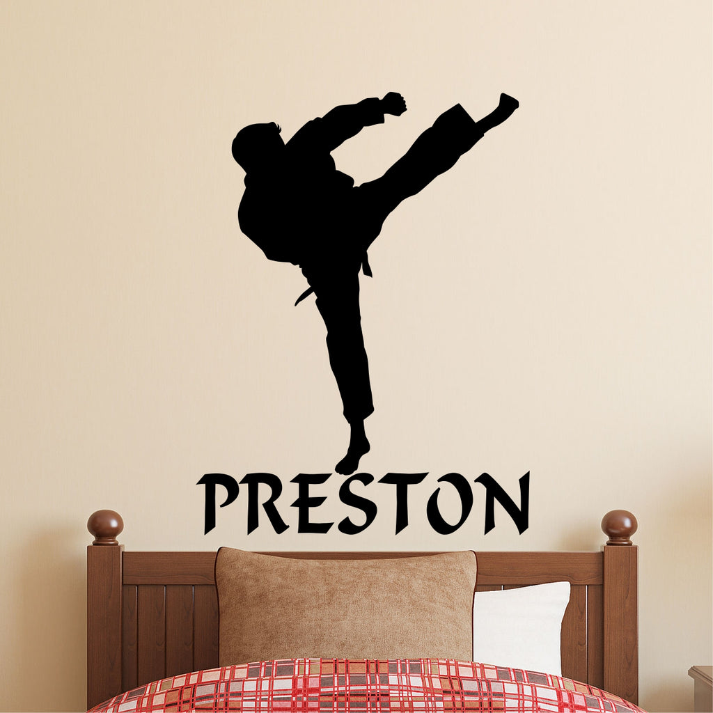 Karate Kick Silhouette | Martial Arts Decal | Vinyl Wall Lettering