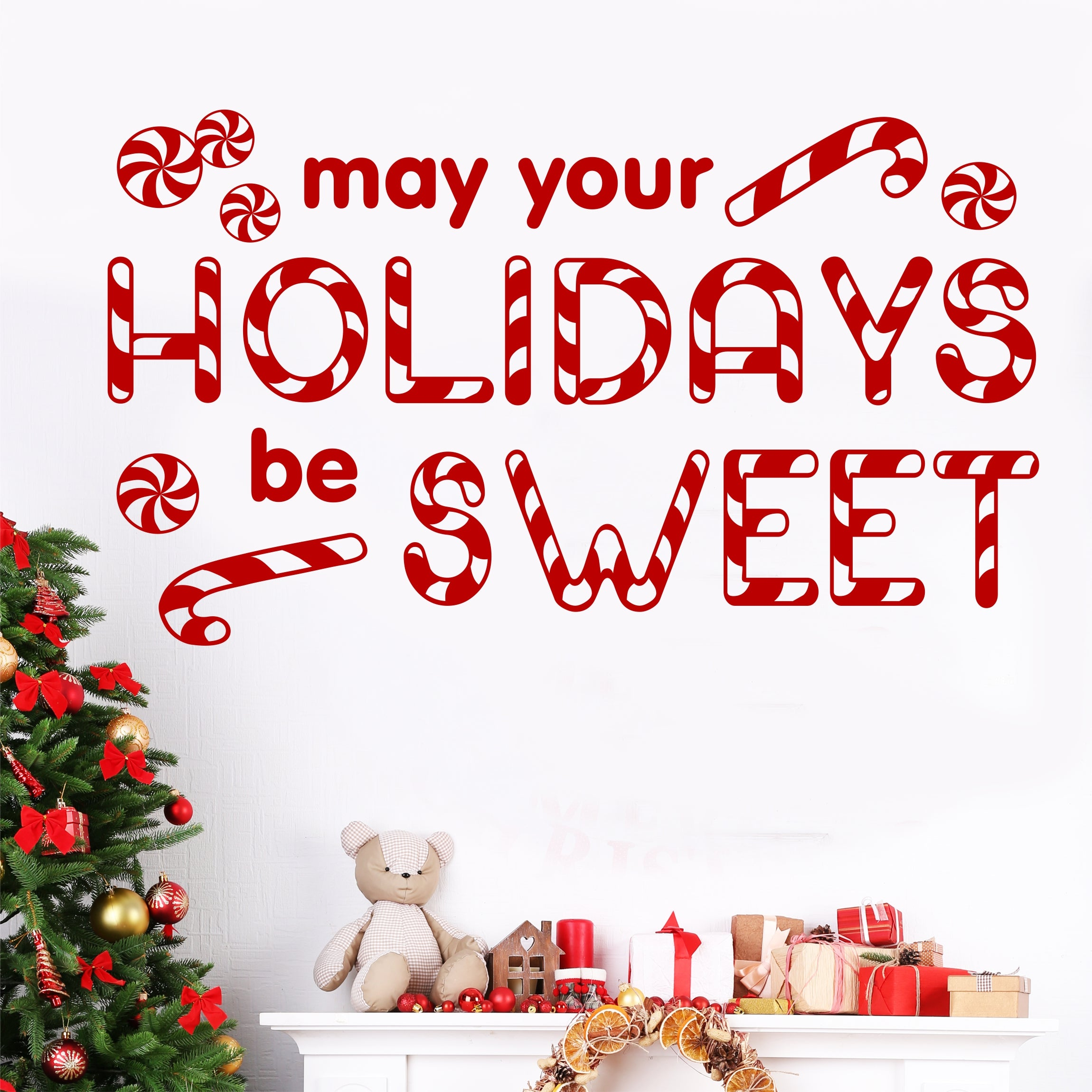 Christmas Wall Decal May Holidays Be Sweet Candy Cane