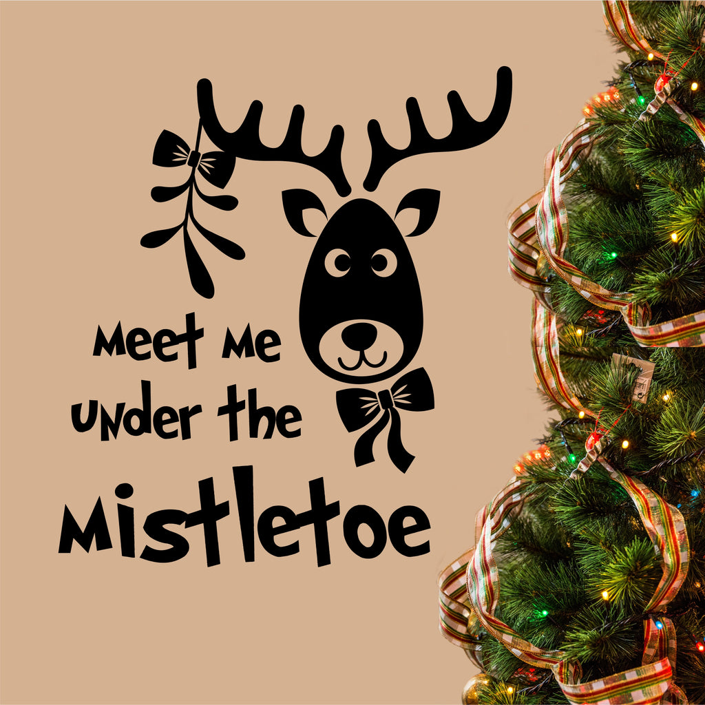 Meet Under Mistletoe | Christmas Vinyl Decal | Holiday Lettering