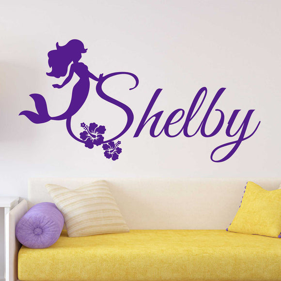Custom Girl Wall Decal Mermaid with Flowers Name Vinyl Lettering