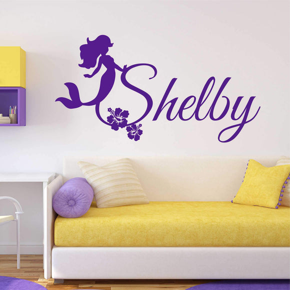 custom girl name mermaid decal