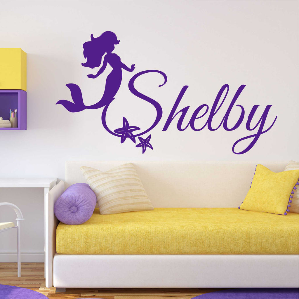 Mermaid with Starfish Name Decal | Vinyl Wall Lettering | Wall Quotes