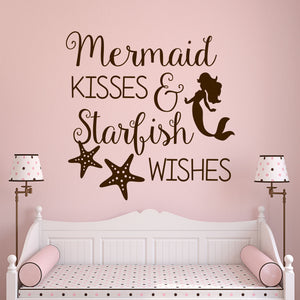Wall Decal Mermaid Kisses Starfish Wishes