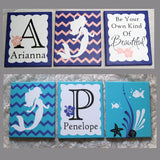 Hand Painted Nursery Canvas Set Custom Girl Mermaid Theme