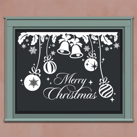 Merry Christmas Bells | Holiday Wall Lettering | Vinyl Window Decals