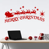 Holiday Wall Decal Merry Christmas Santa Sleigh Decoration