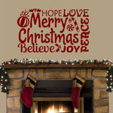 Wall Decal Merry Christmas Word Collage