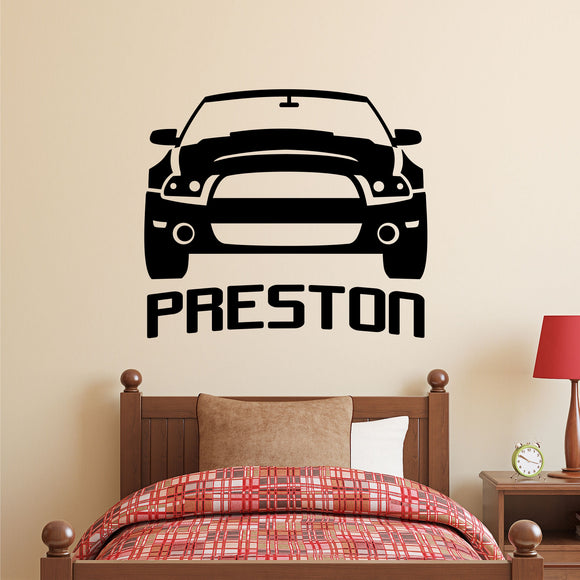 Boy Wall Decal Modern Car Name